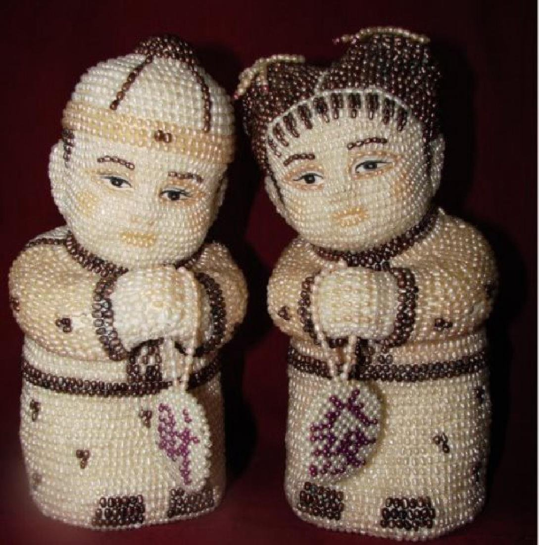Antique a Couple Figures Handmade Freshwater Pear