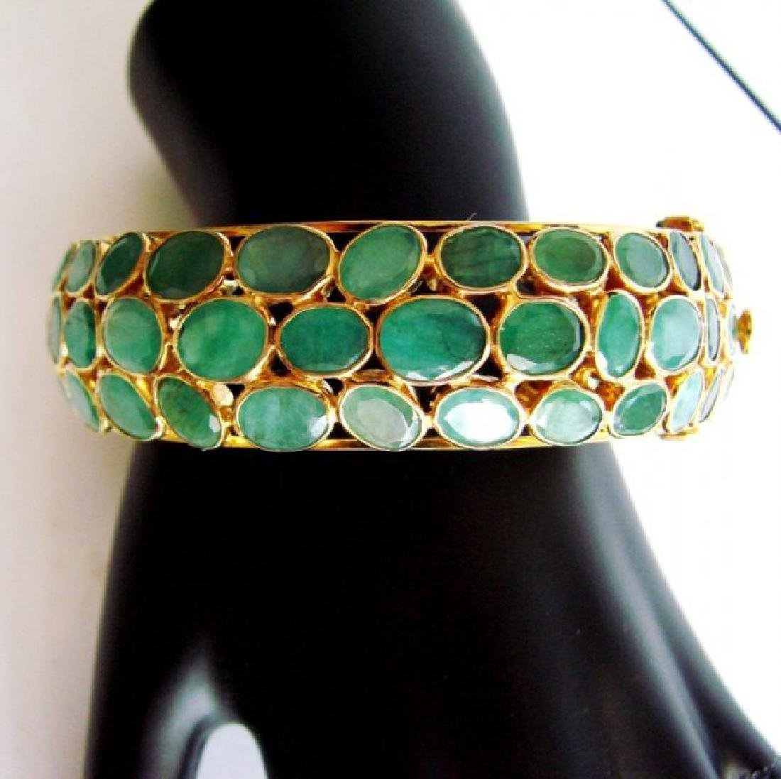 Natural Emerald Bangle 113.71Ct 18k Y/g Overlay - 3