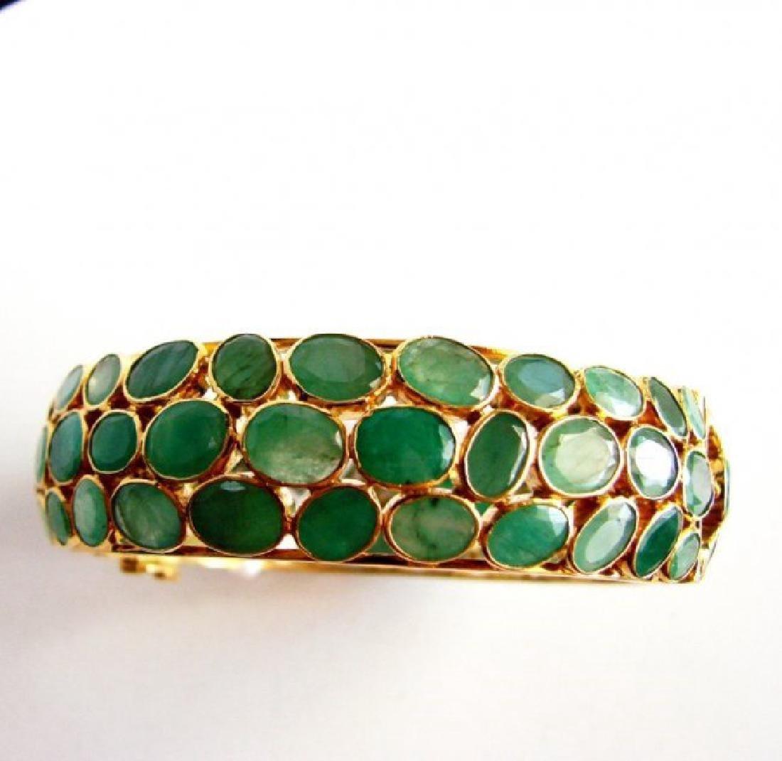 Natural Emerald Bangle 113.71Ct 18k Y/g Overlay - 4