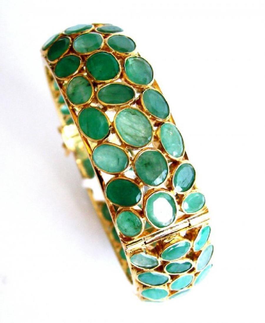 Natural Emerald Bangle 113.71Ct 18k Y/g Overlay - 5