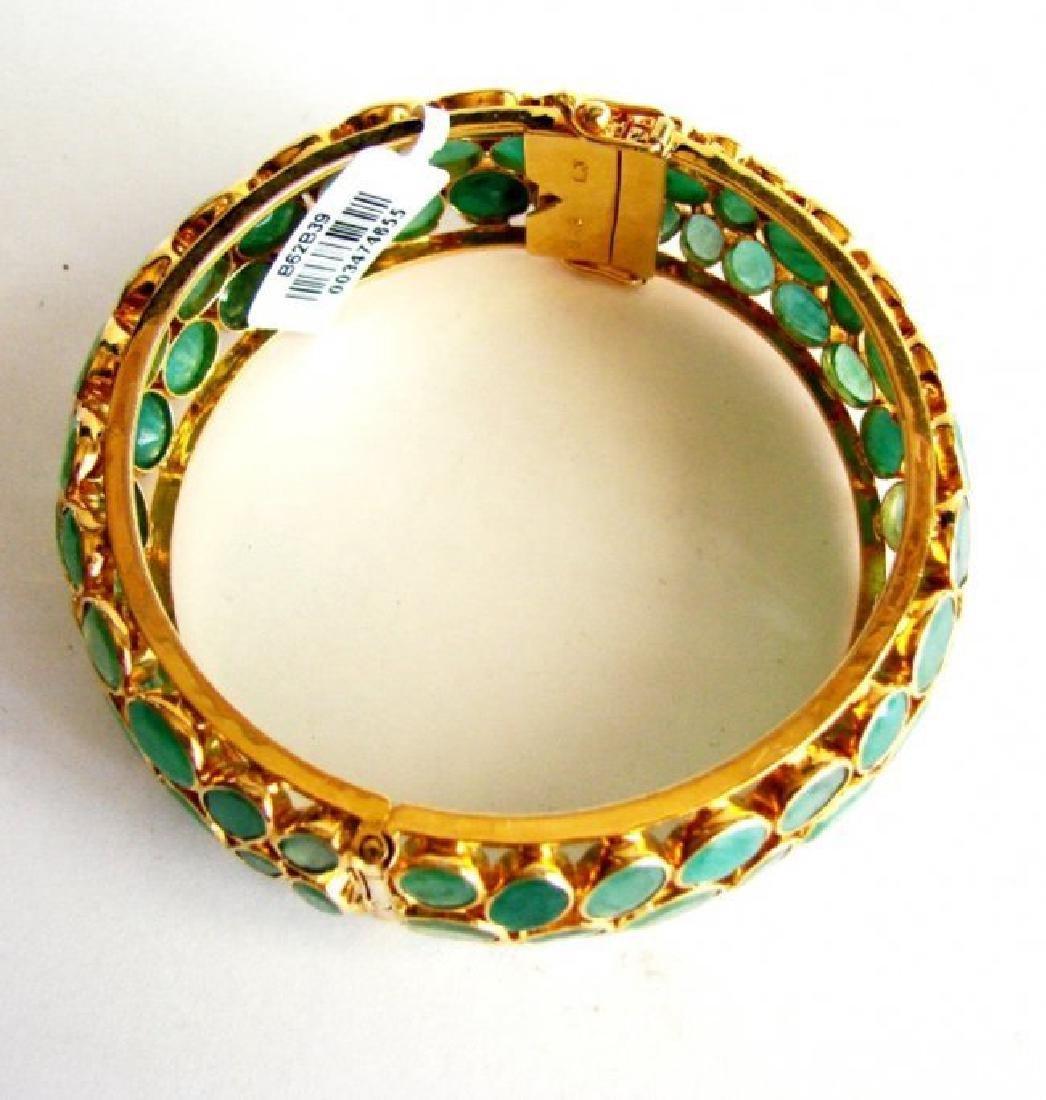Natural Emerald Bangle 113.71Ct 18k Y/g Overlay - 6