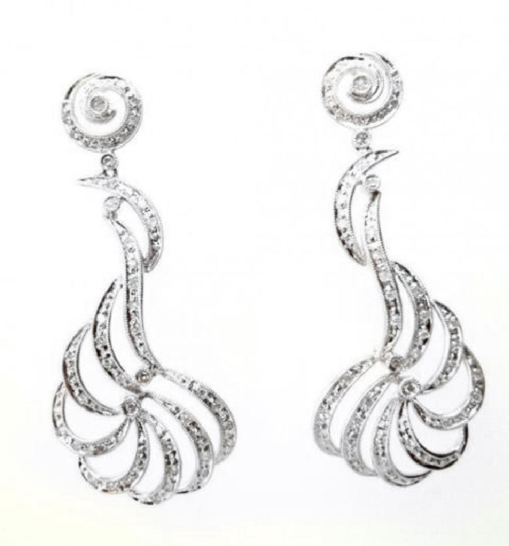 Chandeliers Diamond Earrings 1.03Ct 18k White Gold