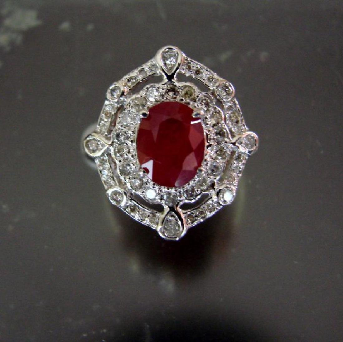 Ring Natural Ruby Diamond 5.94Ct 14k Y/g