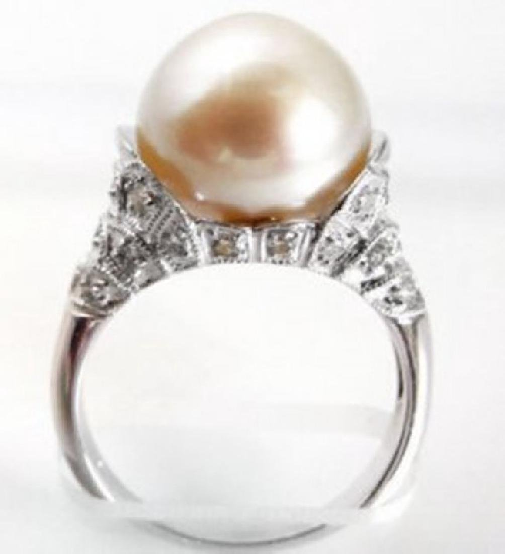 South Sea Pearl 12.5mm-Diamond Ring.72Ct 18k W/g - 2