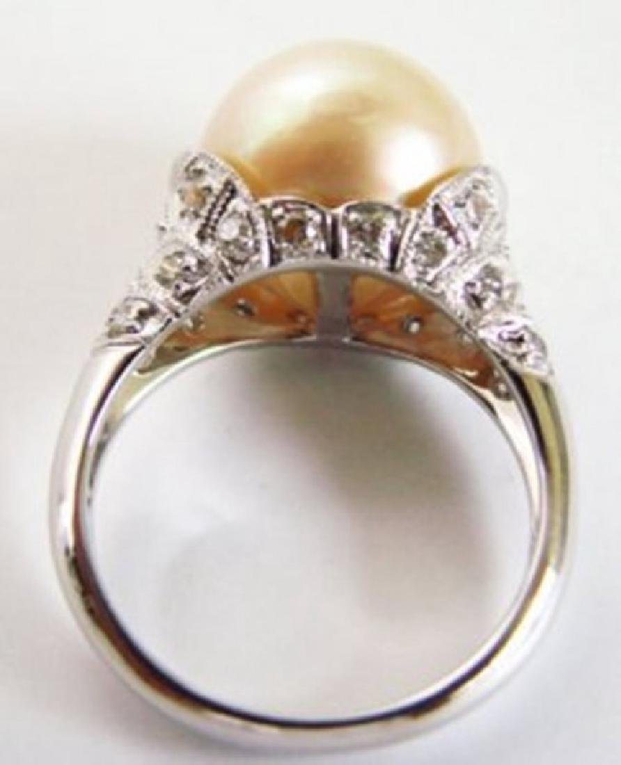 South Sea Pearl 12.5mm-Diamond Ring.72Ct 18k W/g - 4