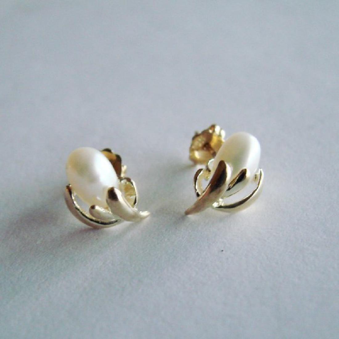 Culture Pearl 4.5 mm Stud Earrings 14k Y/g
