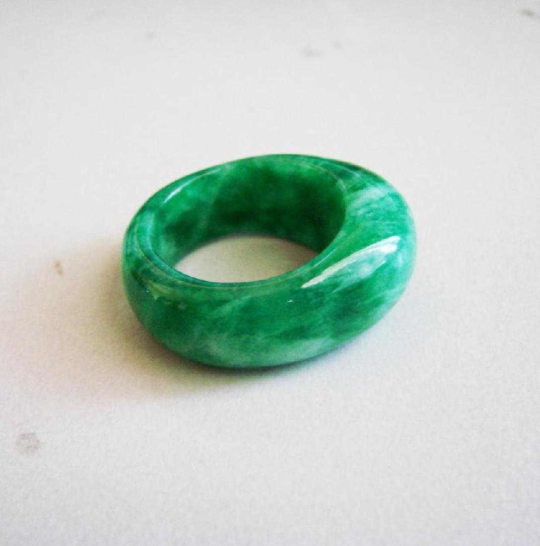 Natural Chinese Jadeit Jade Dome Ring Grade A Size: 9.5 - 2