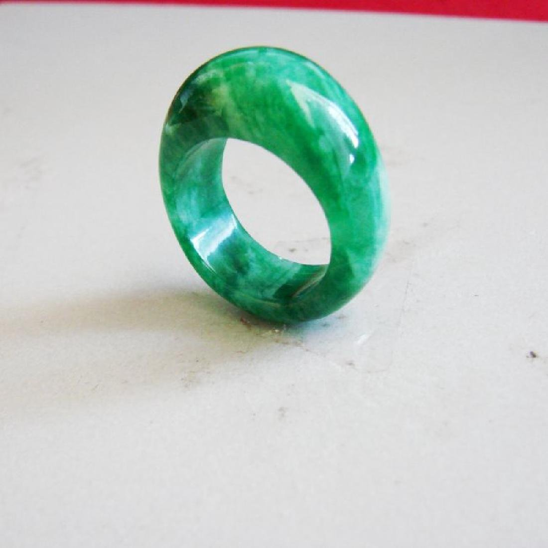 Natural Chinese Jadeit Jade Dome Ring Grade A Size: 9.5 - 3