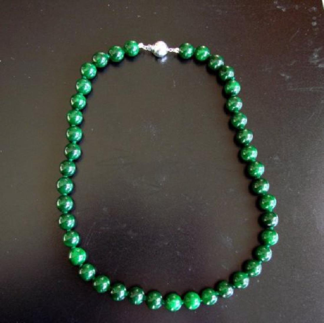 Natural Jadeite Jade Bead Green Spinach Necklace