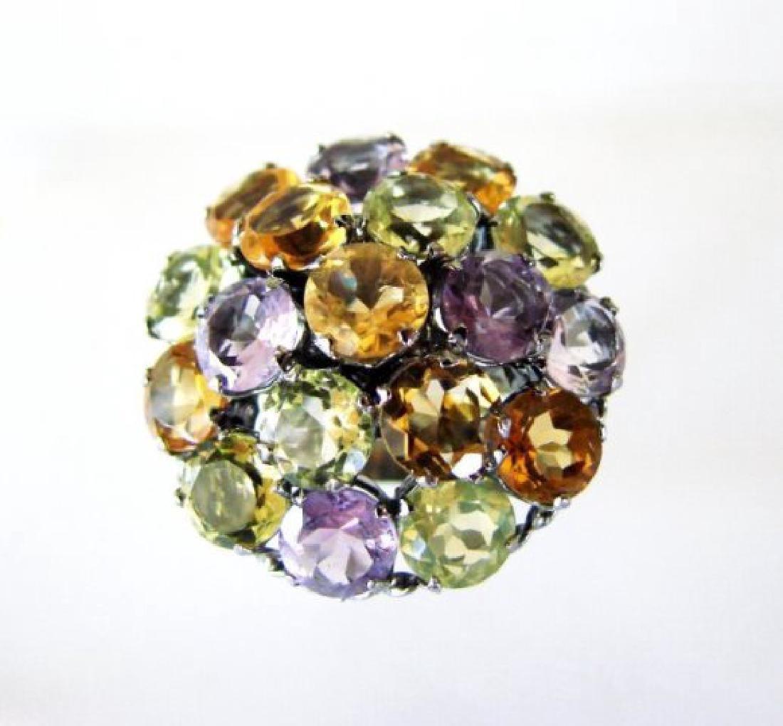 Multicolor Stone Ring 23.40Ct 18k B/g Overlay