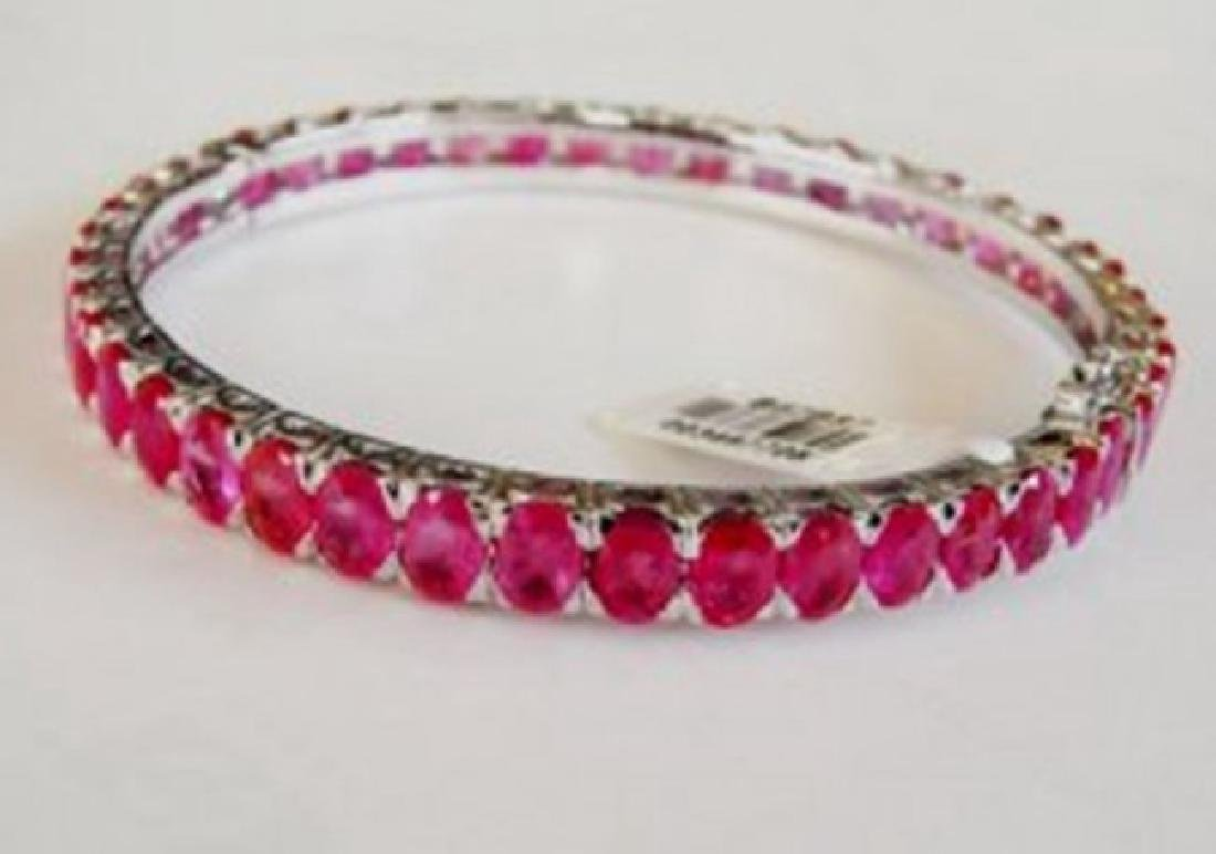 Natural Ruby Bangle 62.90Ct 18k W/g Overlay
