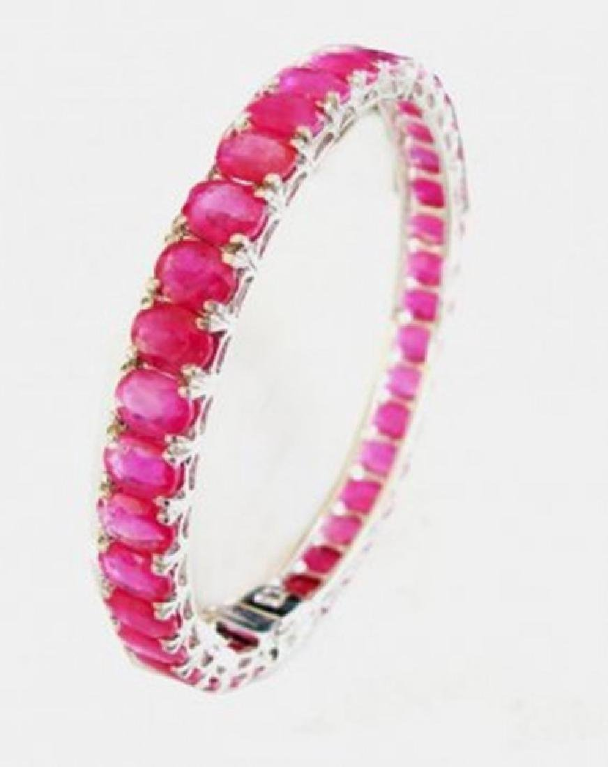 Natural Ruby Bangle 62.90Ct 18k W/g Overlay - 2