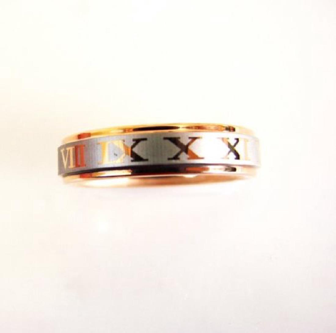 Tungsten Carbide Men Ring Two Tone 18k R/w Fill SZ 9