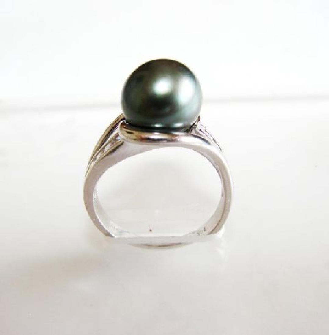 Tahitian Pearl 10 mm Diamonds Ring .20Ct 14k W/g