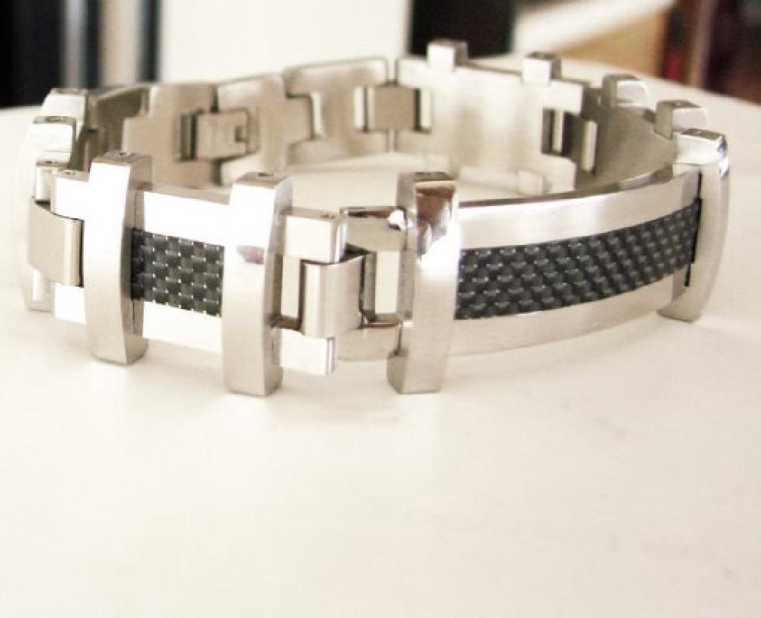 Men Bracelet Stainless Steel Design Black & White