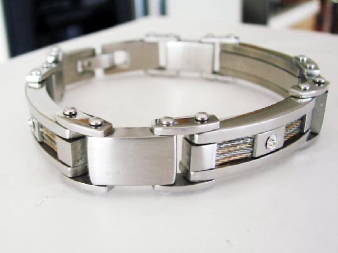 Men Bracelet Stainless Steel Design Gold & Platimiun
