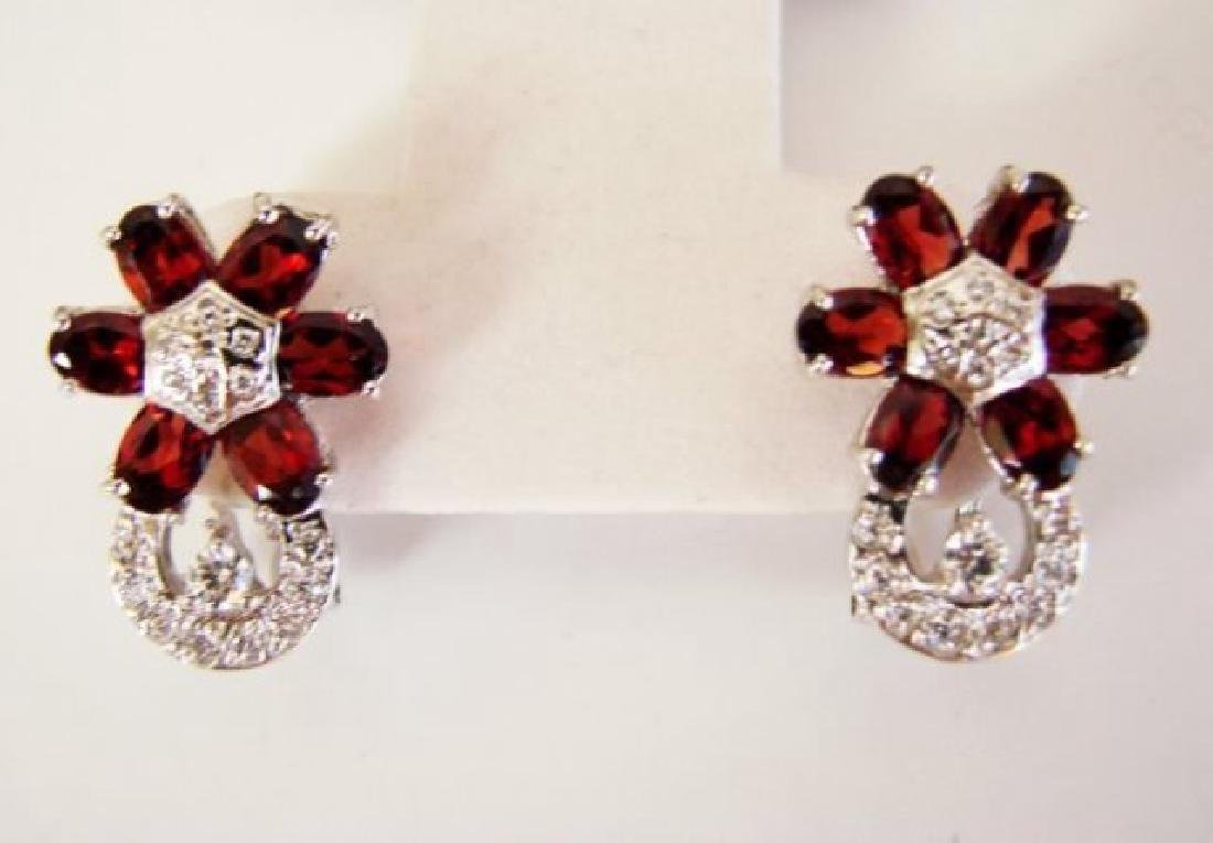Garnet&Creation Dimond Earrings 8.38Ct 18k W/g Overlay