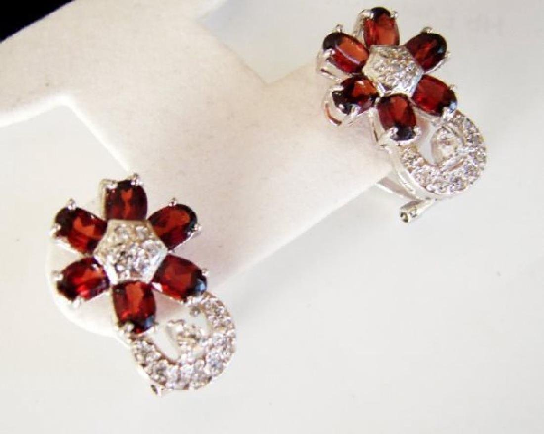 Garnet&Creation Dimond Earrings 8.38Ct 18k W/g Overlay - 2