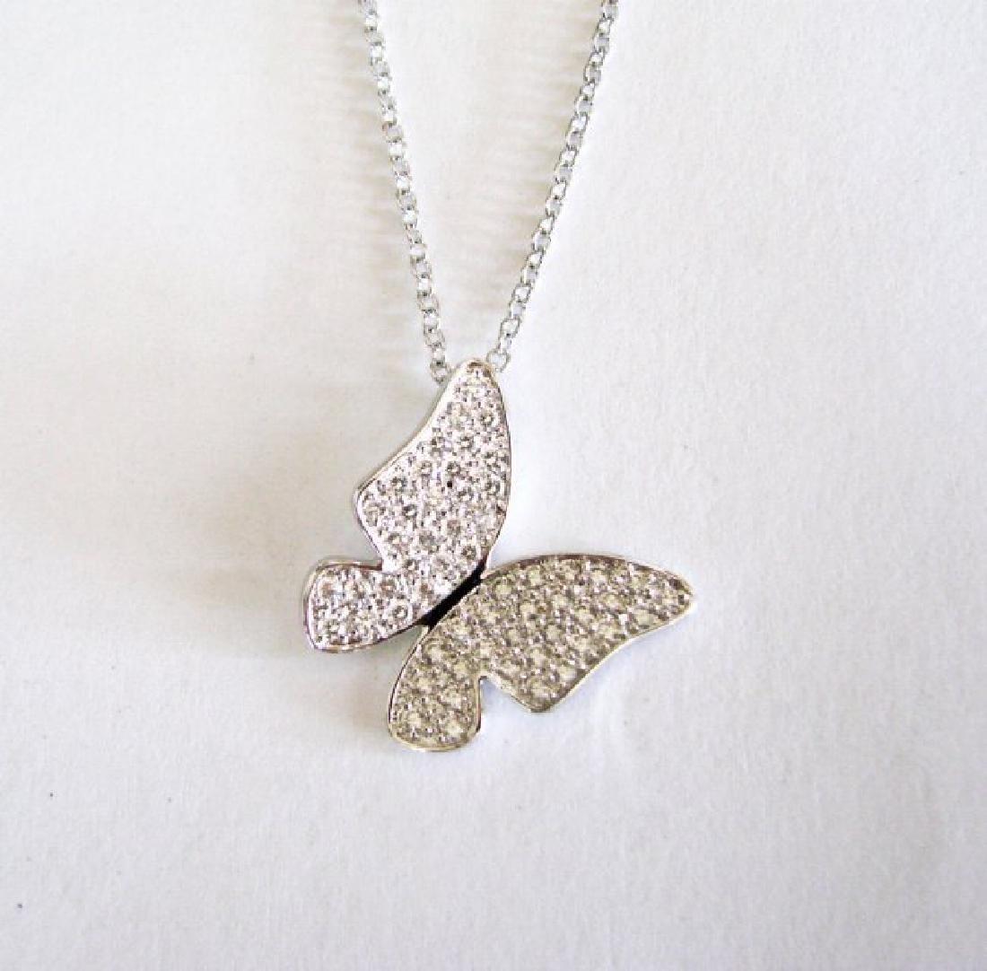 Creation Diamond Pendant Butterfly 1.12Ct 18k Wg Over