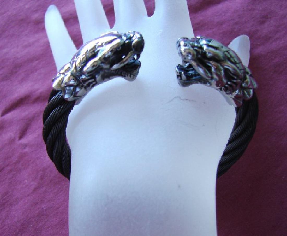 Men Bracelet Stainless Steel Design Dragon Black&White
