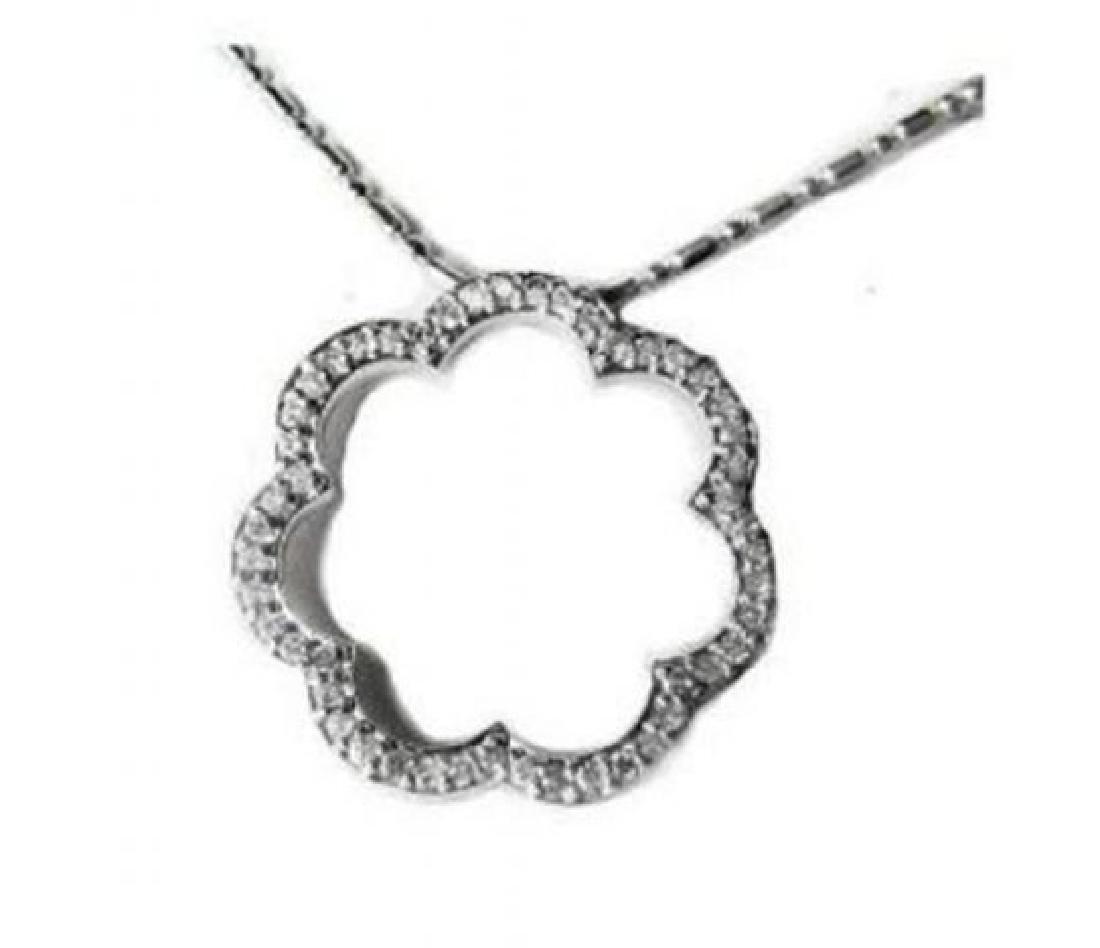 Scallop Diamond Pendant .74 Carat 14k White Gold