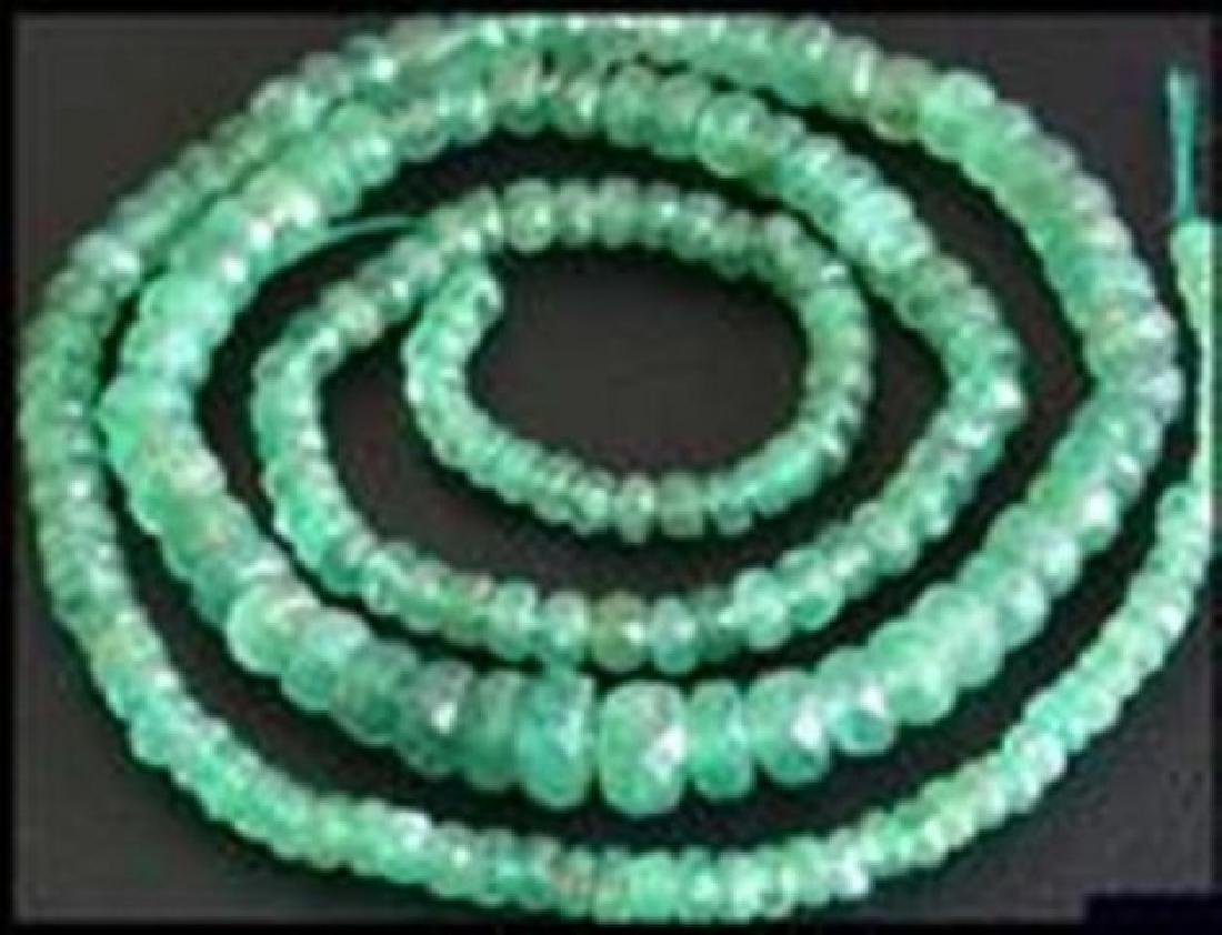 "Natural Emerald Bead Strand 63Ct 20"" 3.5x4.5x5mm"