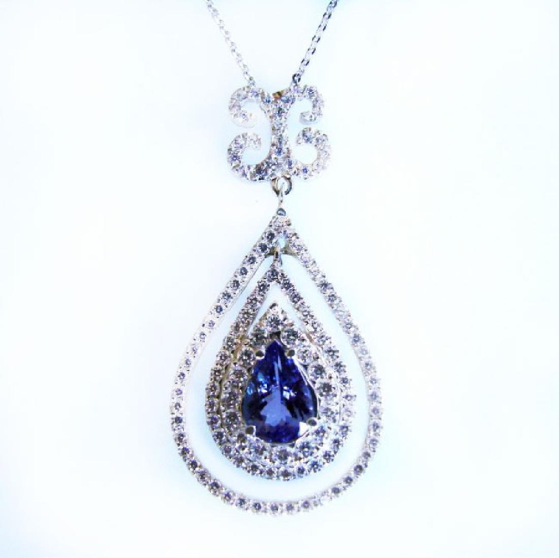 Pendant Natural Diamond & Tanzanite 5.63Ct 14k W/g