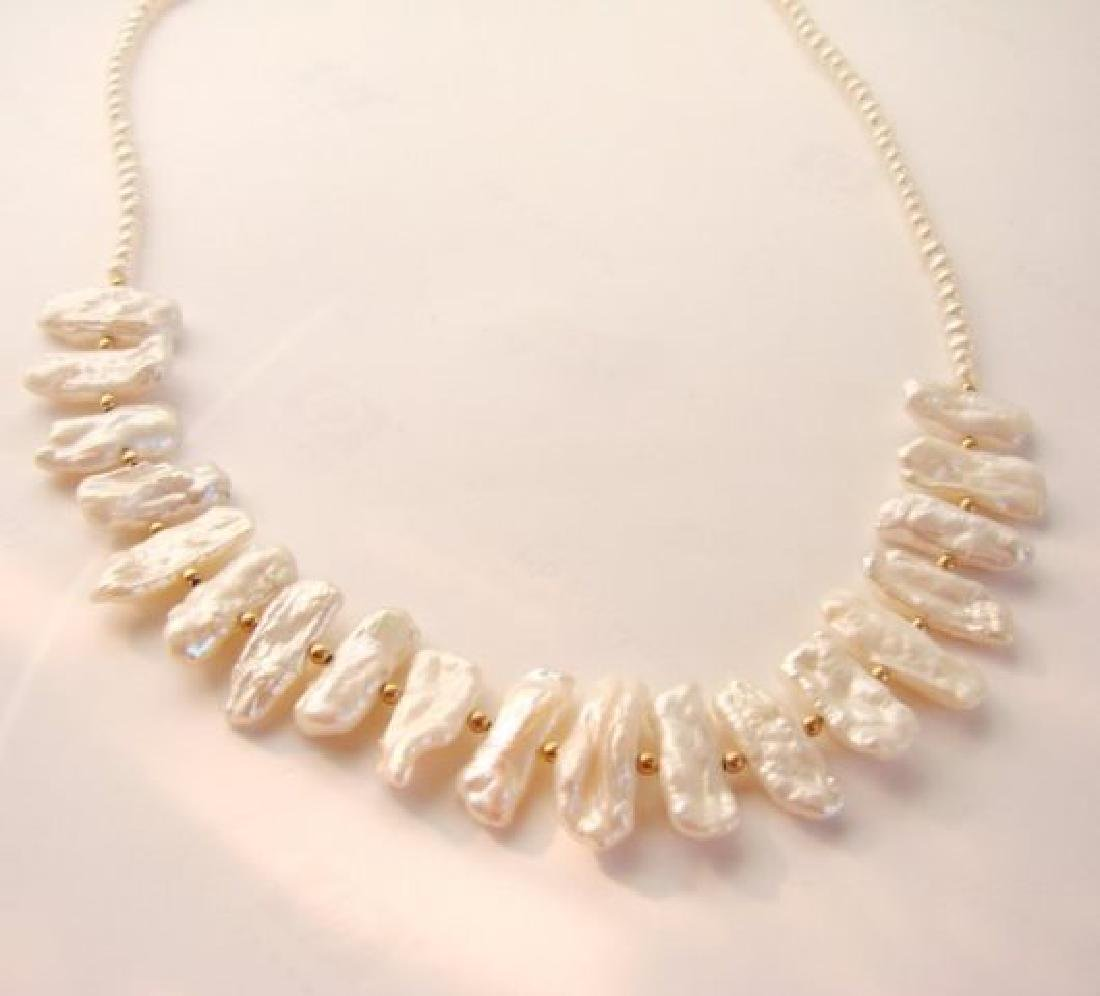 Biwa pearl and white freshwater pearl necklace