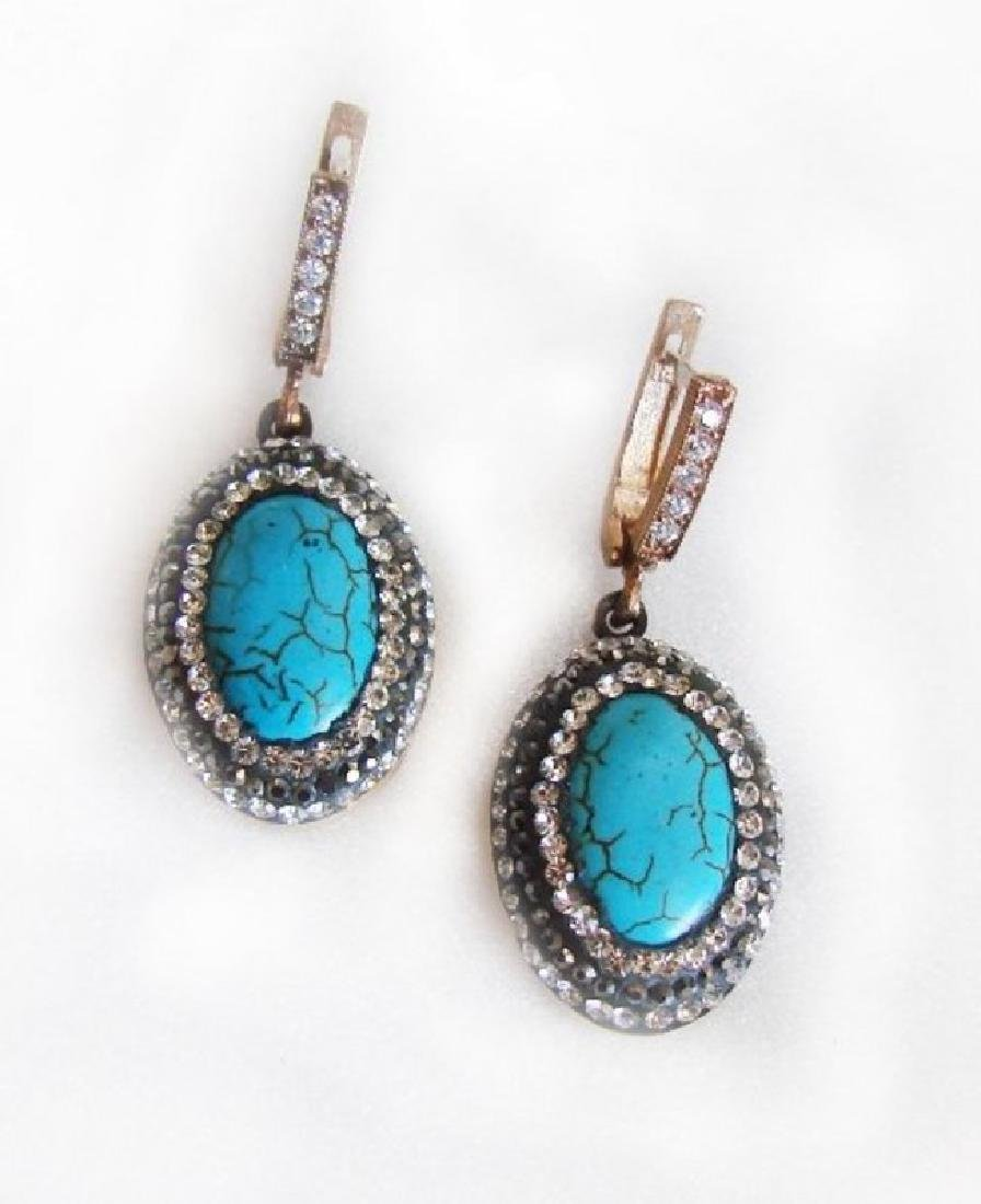 Natural Turquoise Earrings 22.05Ct 18k Y/g Overlay