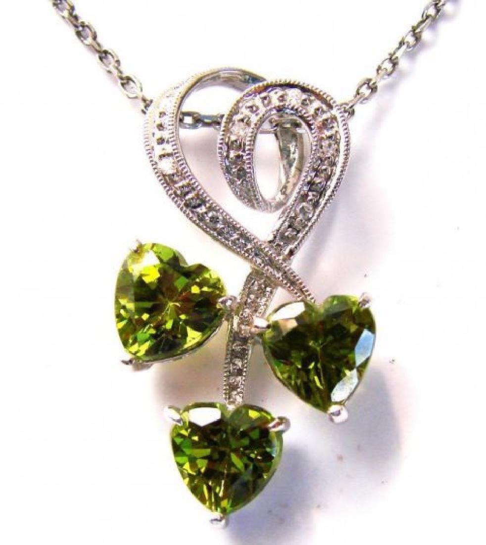 Peridot Diamond Heart Pendant: 2.77Ct 14K W/g