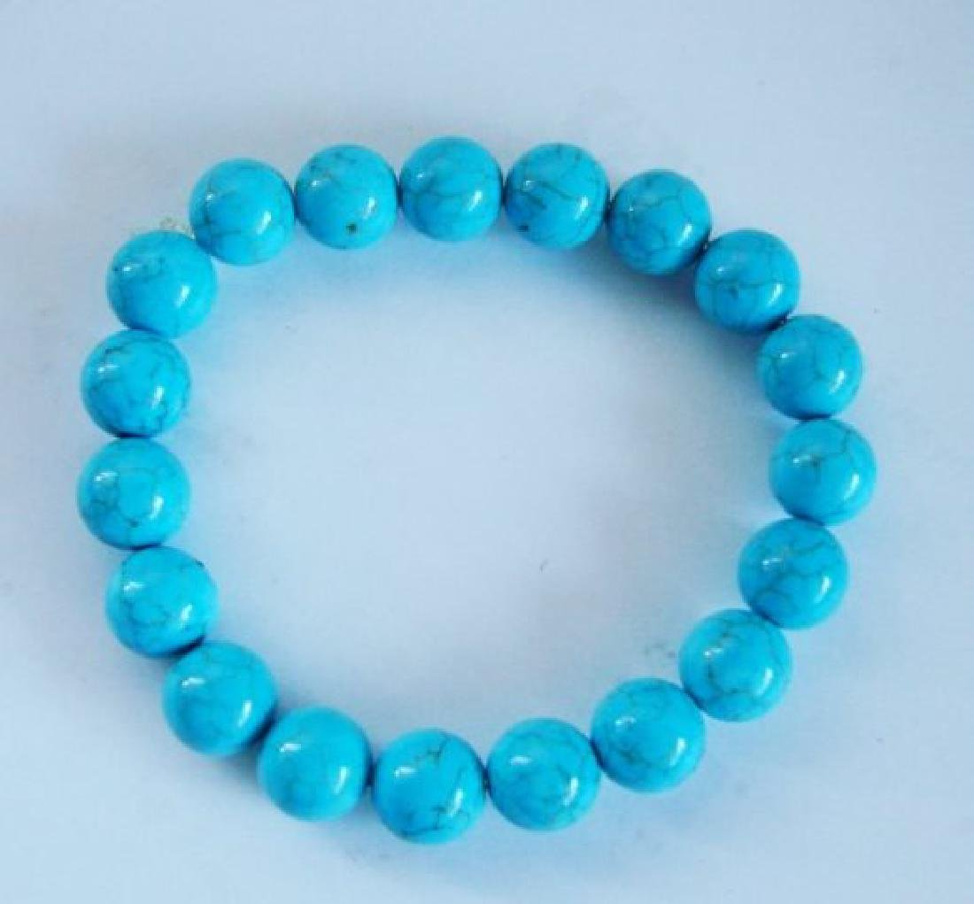 Natural Blue Turquoise Bead 126.90Ct SZ 7""