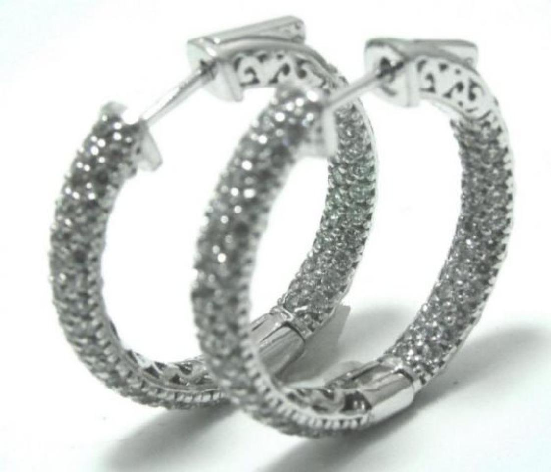 Hoop Earrings Creation Diamond 1.84Ct 18k W/g Overlay