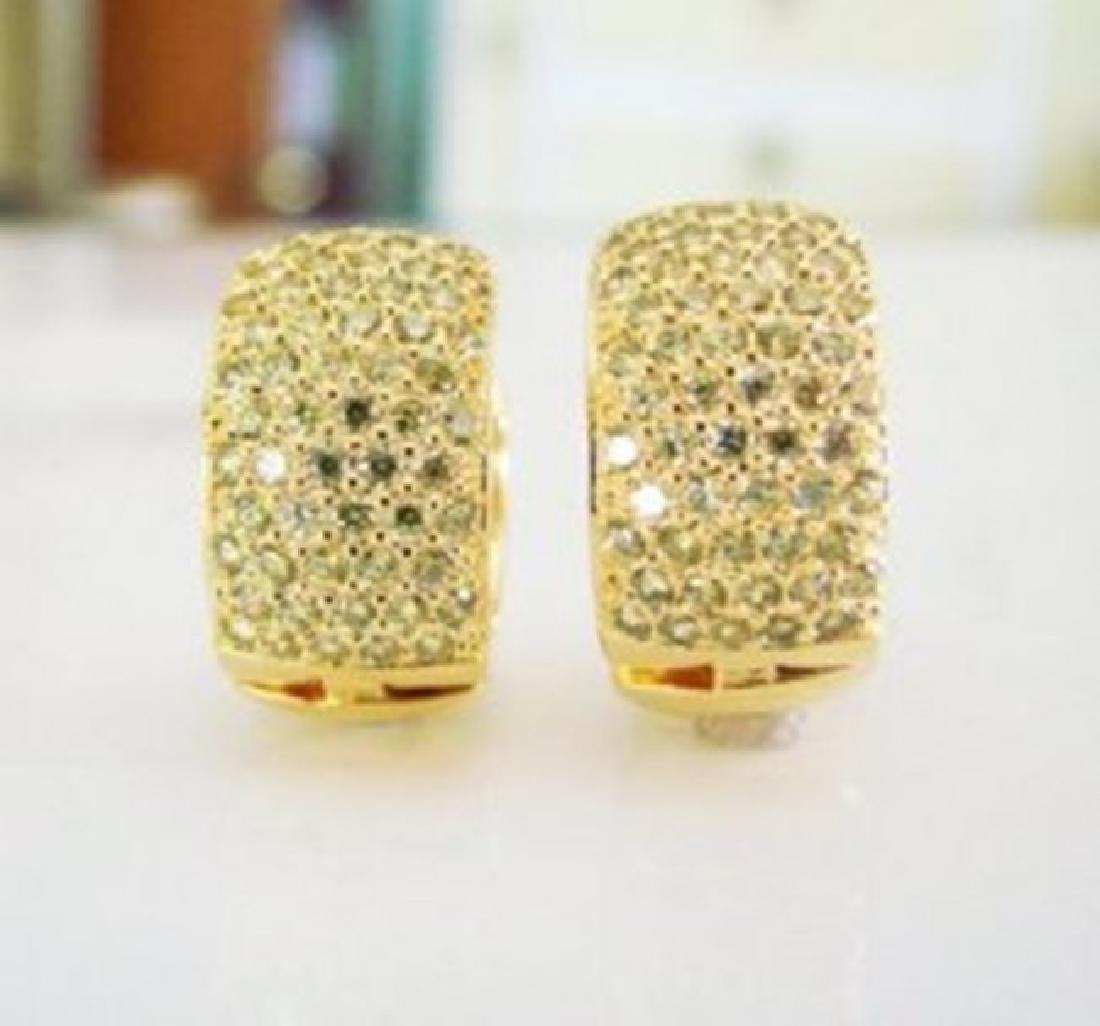 Creation Diamond Hoop Earrings 2.40Ct 18k Y/G Overlay