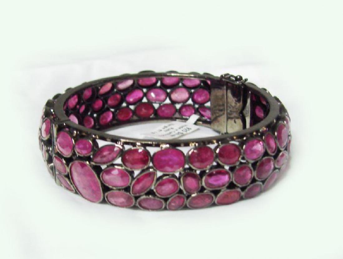 Natural Gems Ruby Bangle 110.Carat 18k Y/g Overlay