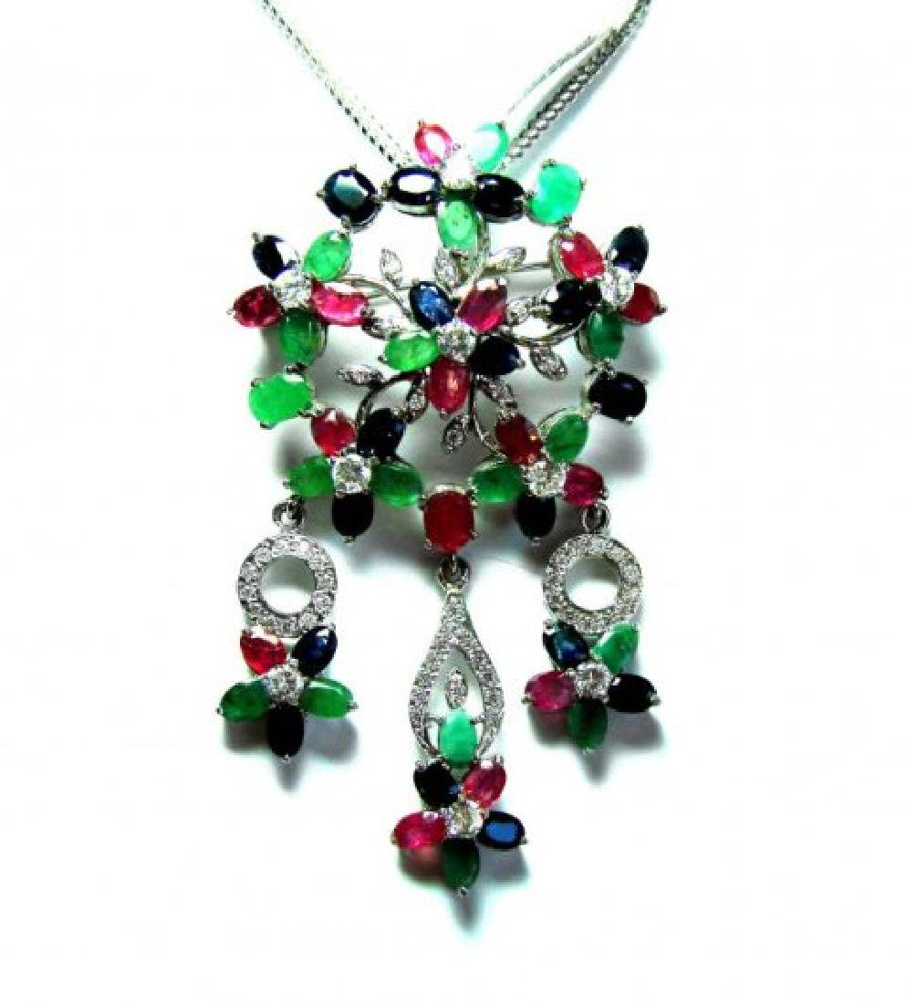 Natural Multicolor Pendant 19.90Ct 18k W/g Overlay