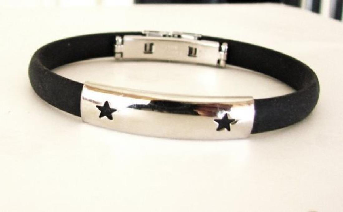 Men Bangle Stainless Steel & Leather Design Star