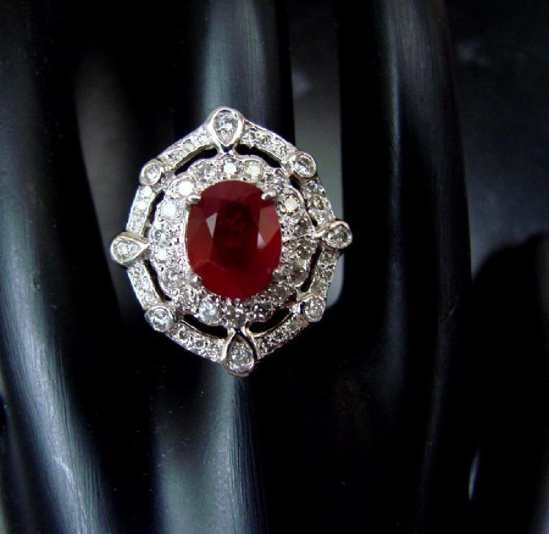Ring Natural Ruby Diamond 5.61Ct 14k Y/g