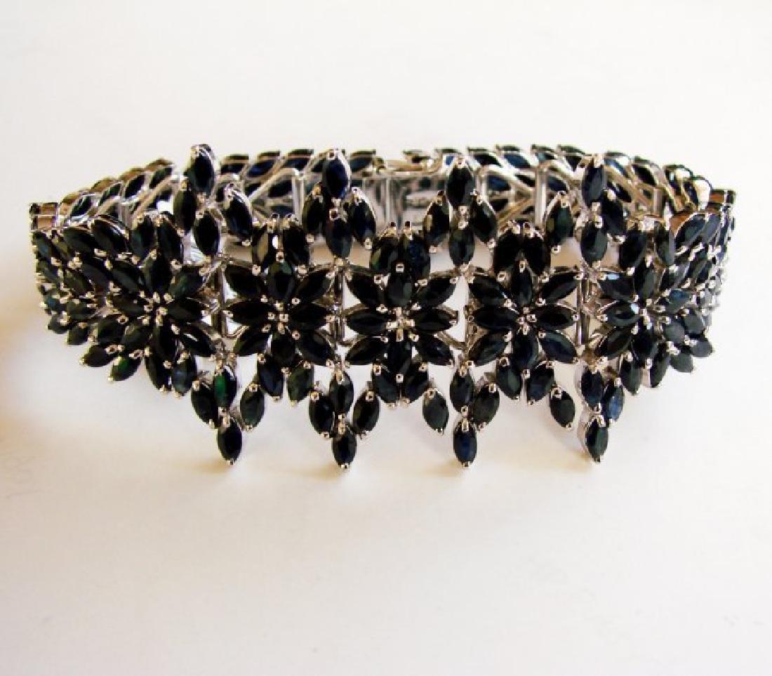 Natural Sapphire Bracelet 37.06Ct 18k W/g Overlay