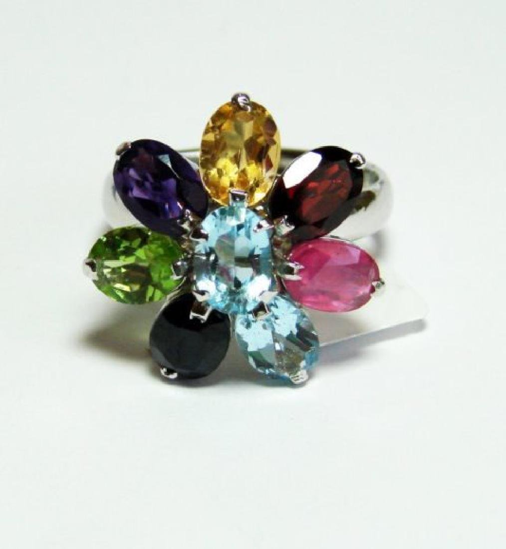 Natural Multicolor Ring 9.20Ct 18k W/g Overlay