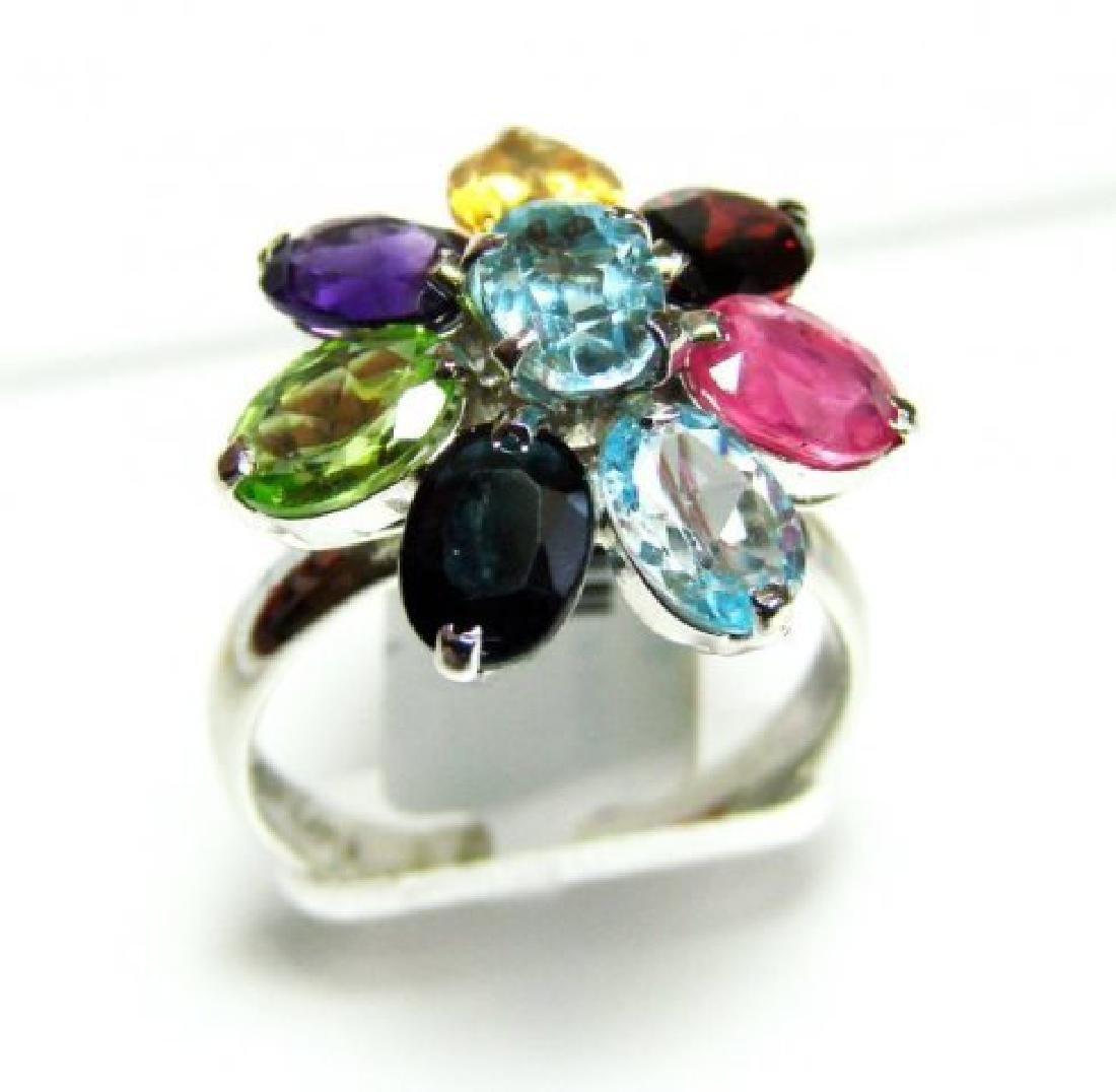 Natural Multicolor Ring 9.20Ct 18k W/g Overlay - 2