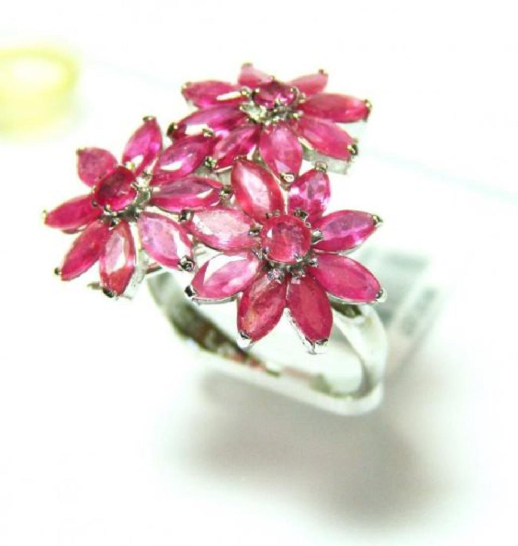 Natural Ruby Ring 5.54Ct 18k W/g Overlay