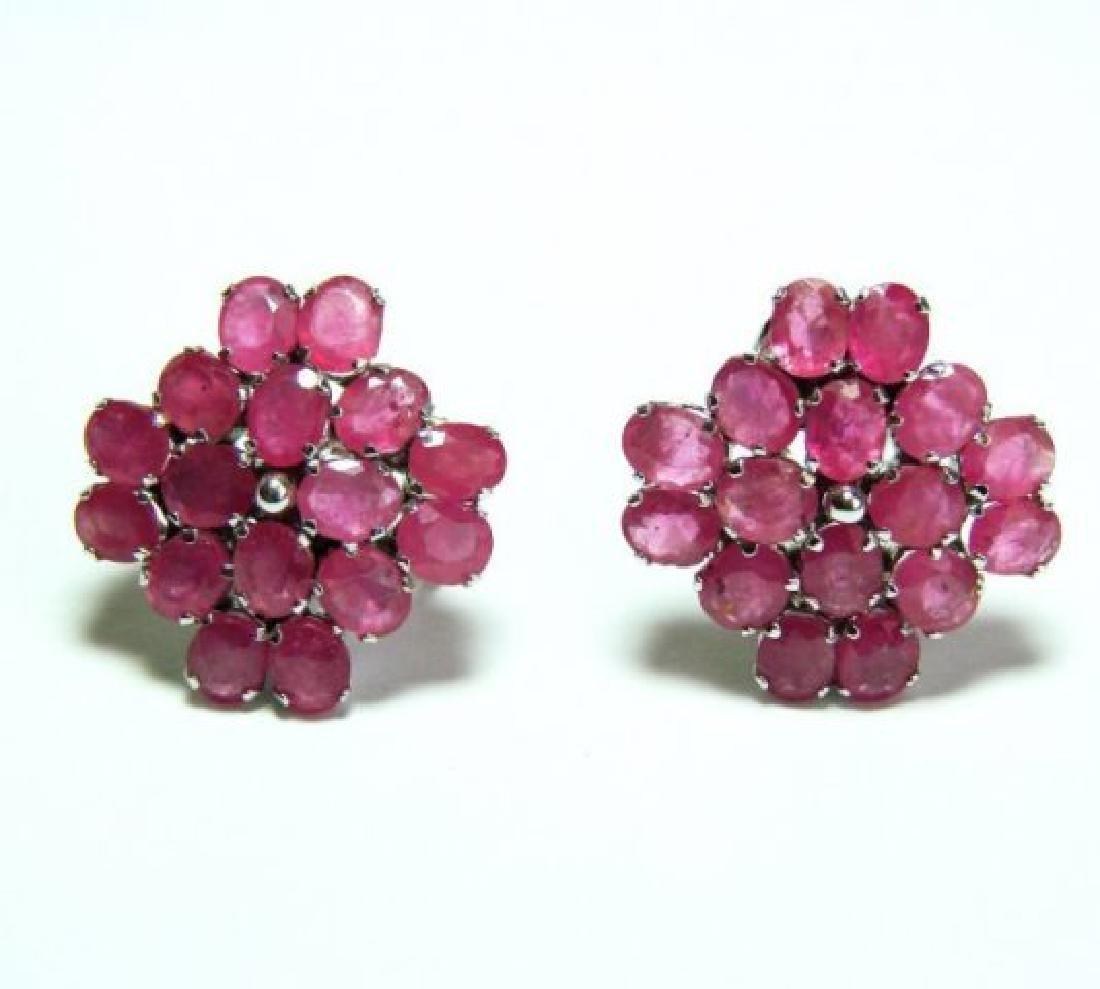 Natural Ruby Earrings 17.28Ct18k W/g Overlay