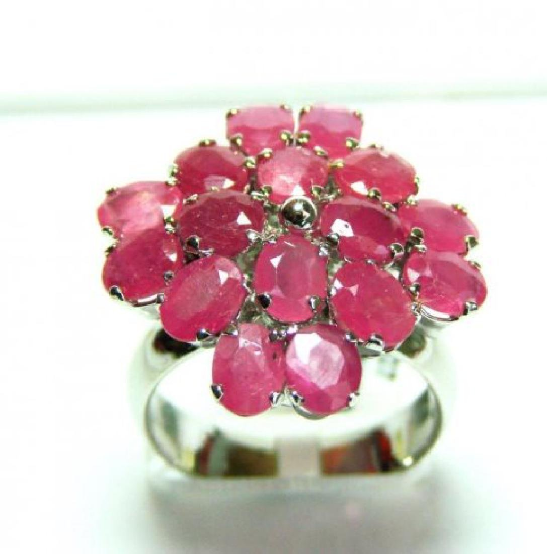 Natural Ruby Ring 8.64Ct 18k W/g Overlay
