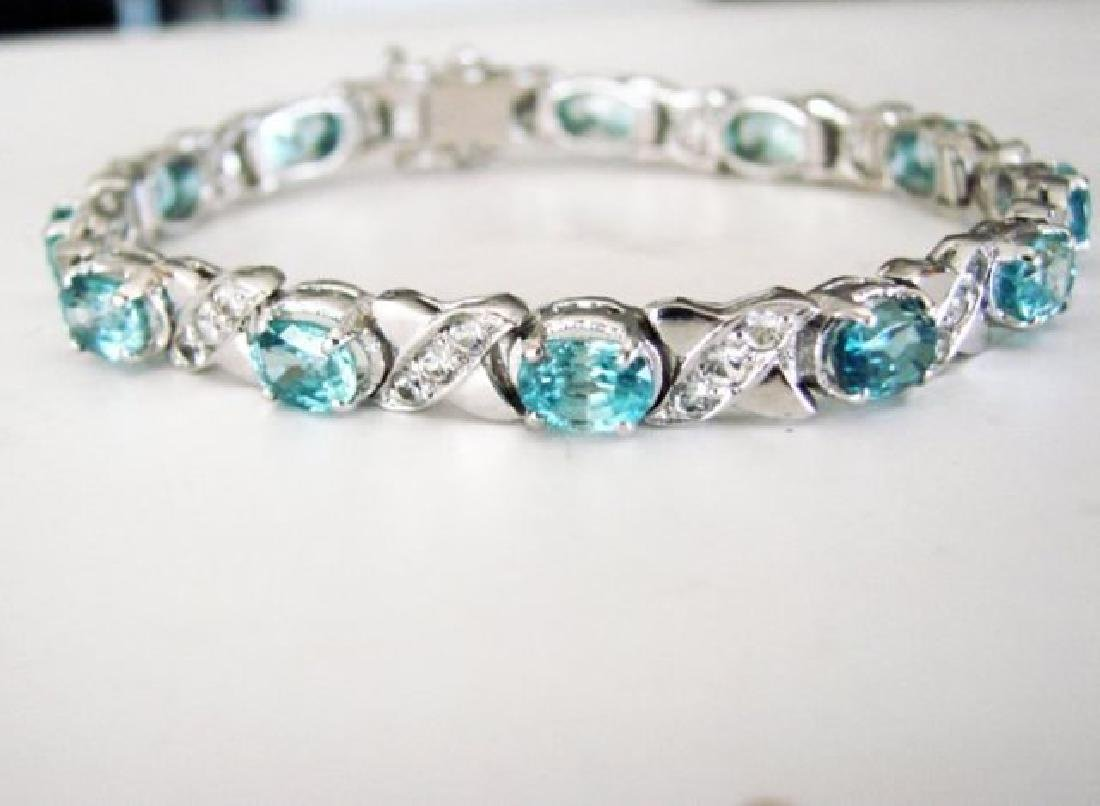 Natural Blue Zircon Bracelet 20.02Ct 18k W/g Over