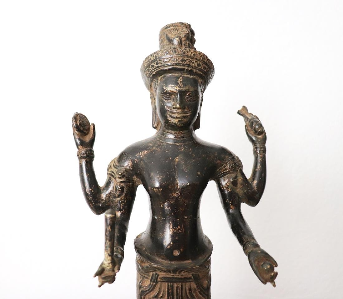 Khmer Angkor,Buddha Brass King Statue 12th Century - 6