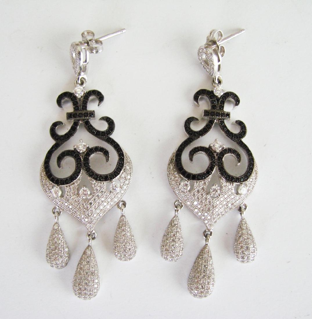 Creation Diamond Chandeliers Ear 3.74Ct 18k W/g Overlay - 3
