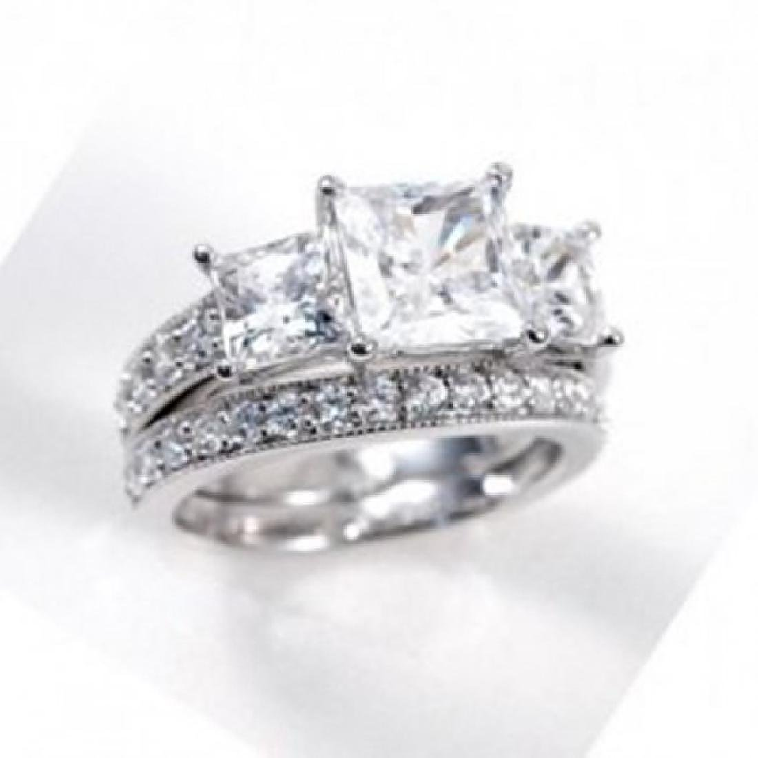 Creation Diamond Ring 3.27 Carat 14k W/G Overlay