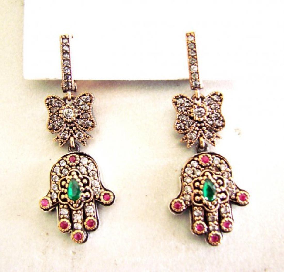 Multi-Color Hamsa Earrings 3.24Ct 18k W-Y/g Overlay - 2