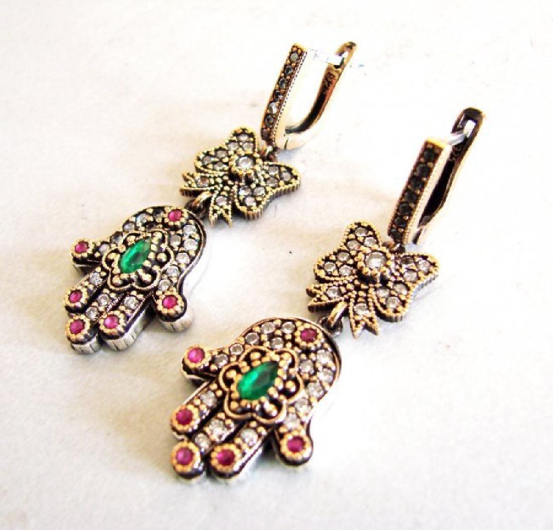 Multi-Color Hamsa Earrings 3.24Ct 18k W-Y/g Overlay - 3