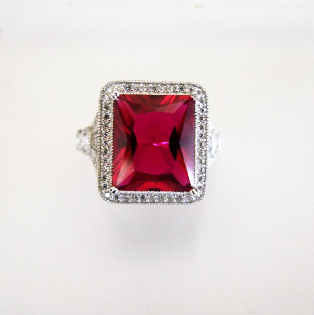 Creation Daimond Ruby Ring 8.61Ct 18k W/g Overlay
